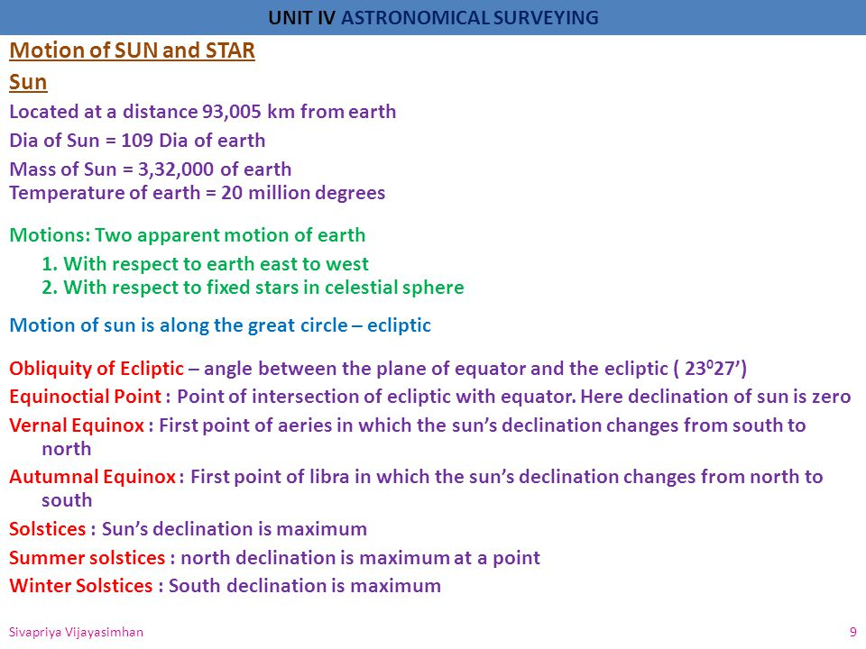 UNIT IV ASTRONOMICAL SURVEYING Star Moon rerates the earth in elliptical orbit(average angle 5 0 8')inclined to the plane of ecliptic, which is intersected at points called Nodes Motions: 1.