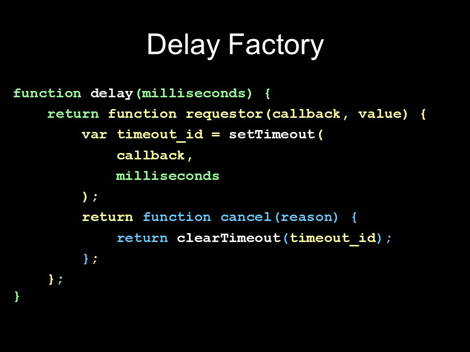 Read File Factory function read_file(filename, encoding) { return function requestor(callback, value) { return fs.readFile( filename, encoding || utf-8 , function (err, data) { return callback(data, err); } ); }; }