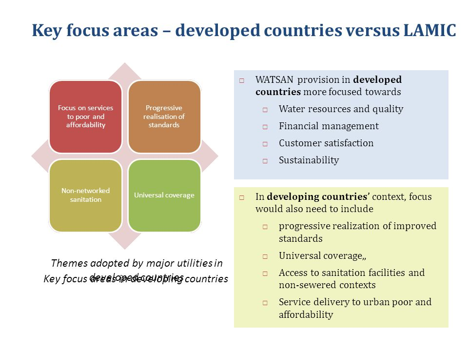 Informed decision making for planning and investment Aggregate statistics suggest good coverage of water and sanitation in urban areas BUT little is known about the quality, level and financial sustainability of service Need to move from laying pipes to delivering water