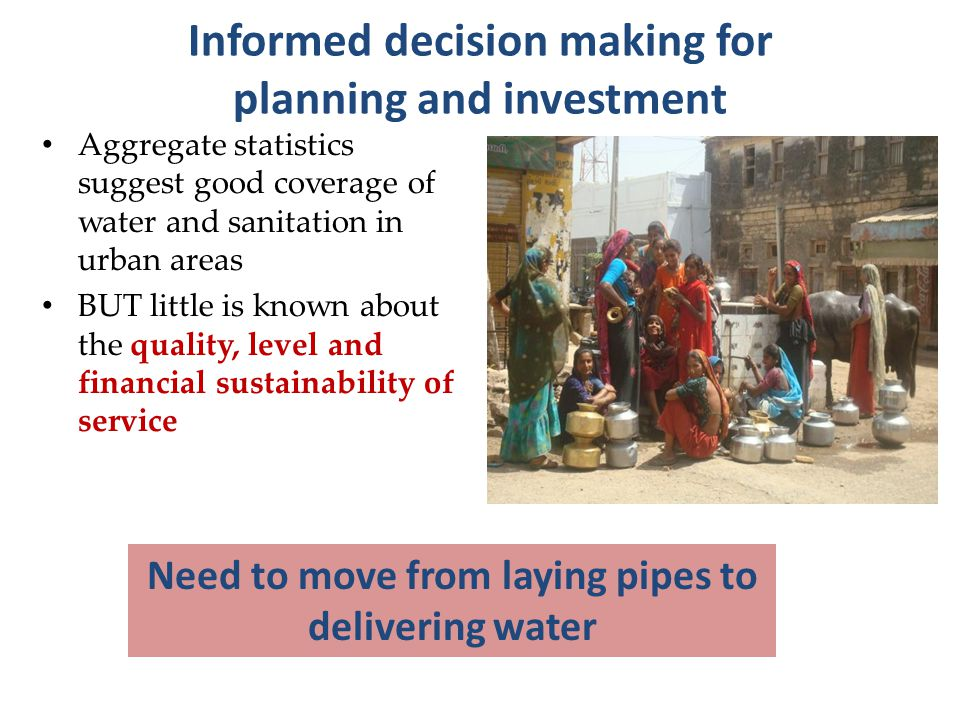 Sectors : Water supply, Waste Water, Solid waste Management & Storm Water PAS Annual Service delivery profile for 419 Cities in 2 States covering 32 Key indicators and 90 local action indicators Performance Assessment System Old city area Newly developing colonies Focus on Measurement, Monitoring & Improvement www.pas.org.in