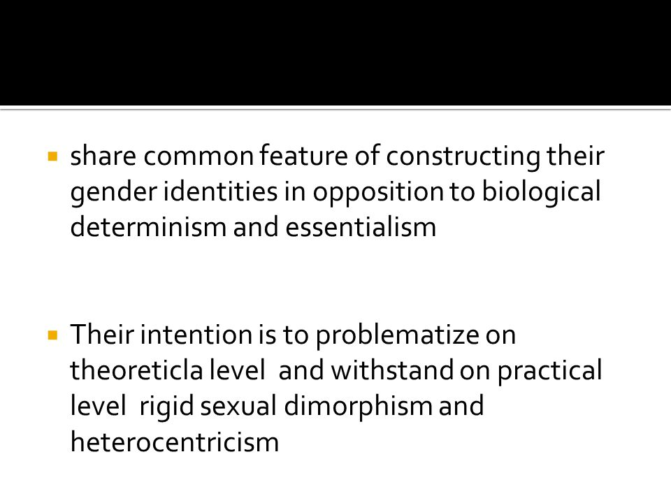  Rejects any hierarchy in relation to sexual identity and sexual orientation: diffrerence is considered to be cause of hierarchy that consequently widens the distance between normal considered superior and abnormal considered inferior.