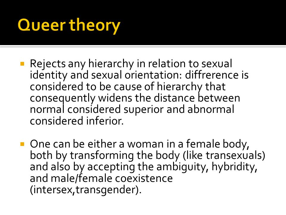  Intersexuality is exalted as an intermediate sexual condition between and beyond the condition of female and male  Masculinity or femininty becomes a matter of degree, varying in percentage and intensity from individual to individual, based on the presence or ansence of certain characterisitcs.