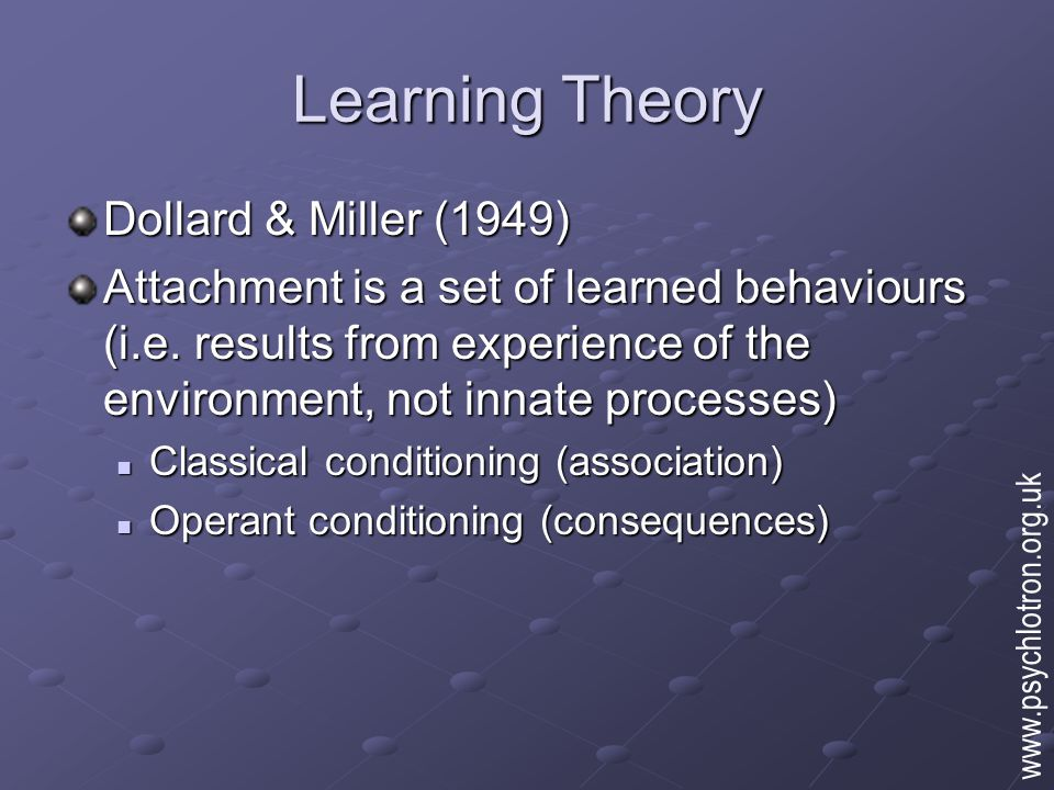Learning Theory Classical conditioning Infant learns to associate feeding/comfort with primary carer/mother Infant learns to associate feeding/comfort with primary carer/mother Mother acquires comforting properties by association Mother acquires comforting properties by association Operant conditioning Infant learns that crying, smiling brings positive response from adults (reinforcement) Infant learns that crying, smiling brings positive response from adults (reinforcement) Adult learns that responding to cries etc.