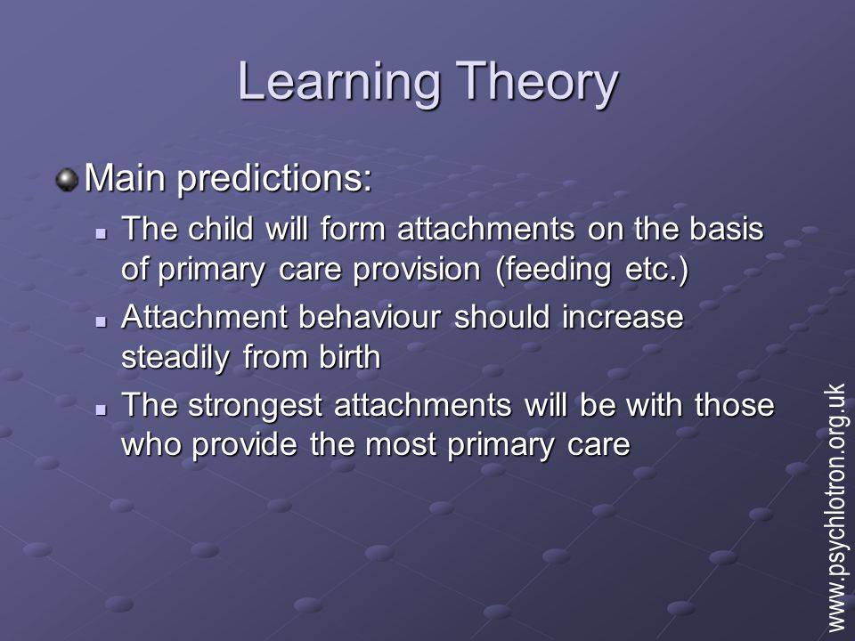 Evolutionary Theory Bowlby (1953) Attachment is biologically pre-programmed into children at birth Encoded in the human genes Encoded in the human genes Evolves and persists because of its adaptiveness (i.e.