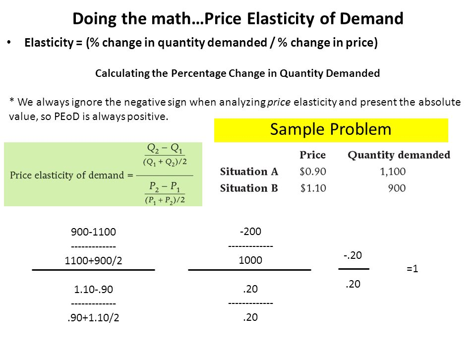 Sample Problem 2 Consumers see a price change in a product from $4 to $5 and demand goes from 20 units to 10 units.