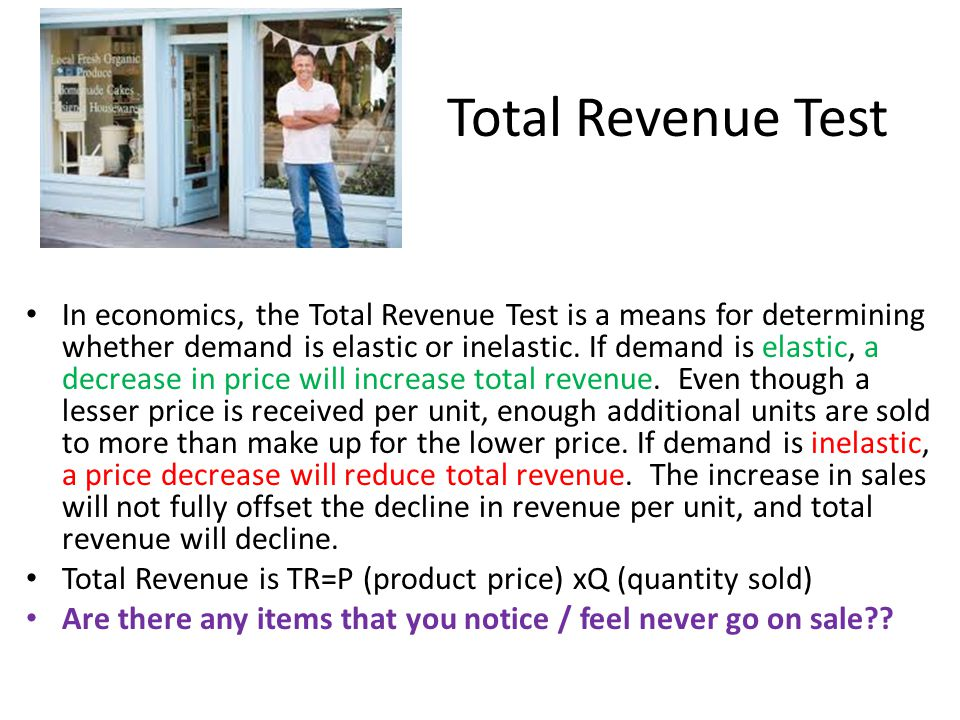 Price $2; Quantity Demanded 10; TR=$20 Notice if price declines from $2 to $1, the qty.