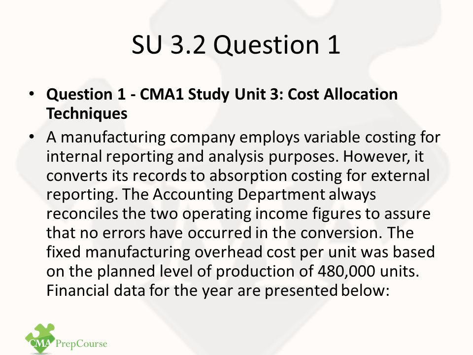 SU 3.2 Question 1 Answer (continued) BudgetActual Sales (in units)495,000510,000 Production (in units)480,000500,000 VariableAbsorption Costing Variable costs$10.00 Fixed manufacturing overhead06 Total unit manufacturing costs$10.00$16.00