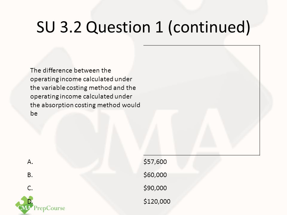 SU 3.2 Question 1 Answer Correct Answer: B The difference between variable costing and absorption costing is that the former treats fixed manufacturing overhead as a period cost.
