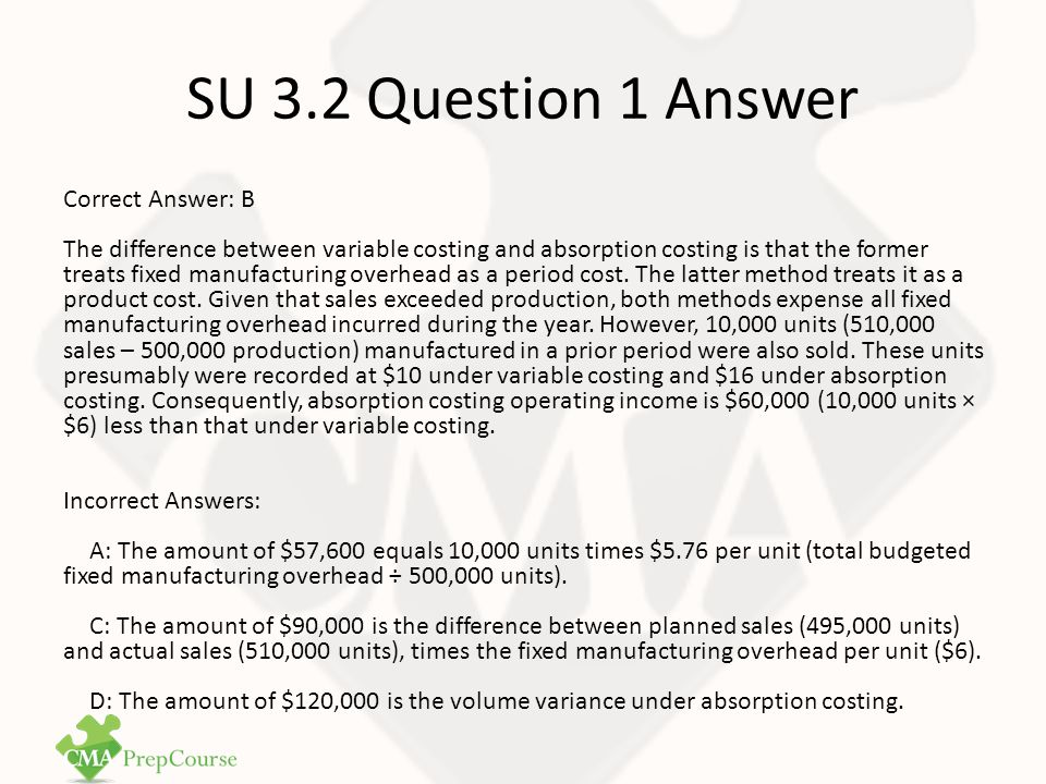 SU 3.2 Question 2 Selling price $300 Costs Direct materials$40 Direct labor30 Variable manufacturing overhead24 Fixed manufacturing overhead60 Variable selling6 Fixed selling and administrative20-180 Operating margin $120 Question 2 - CMA1 Study Unit 3: Cost Allocation Techniques Pontotoc Industries manufactures a product that is used as a subcomponent by other manufacturers.