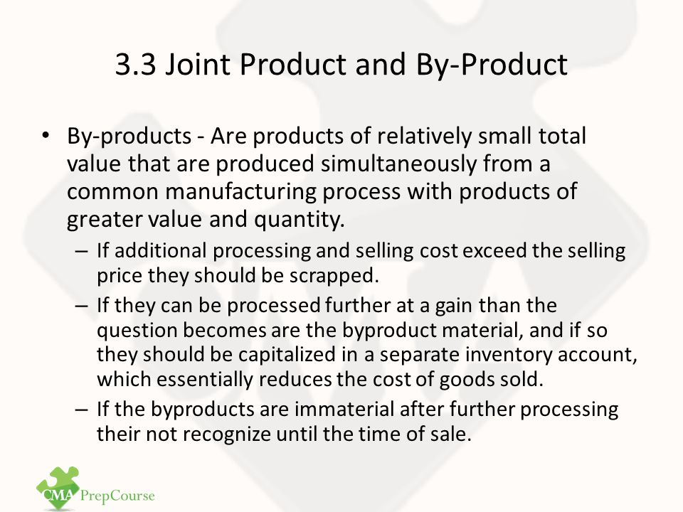 SU 3.3 Question 1 Question 1 - CMA1 Study Unit 3: Cost Allocation Techniques In joint-product costing and analysis, which one of the following costs is relevant when deciding the point at which a product should be sold to maximize profits.