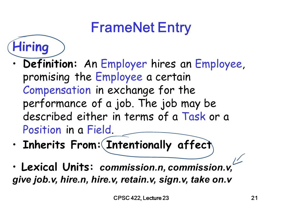 CPSC 422, Lecture 2322 FrameNet Annotations np-vpto –In 1979, singer Nancy Wilson HIRED him to open her nightclub act.