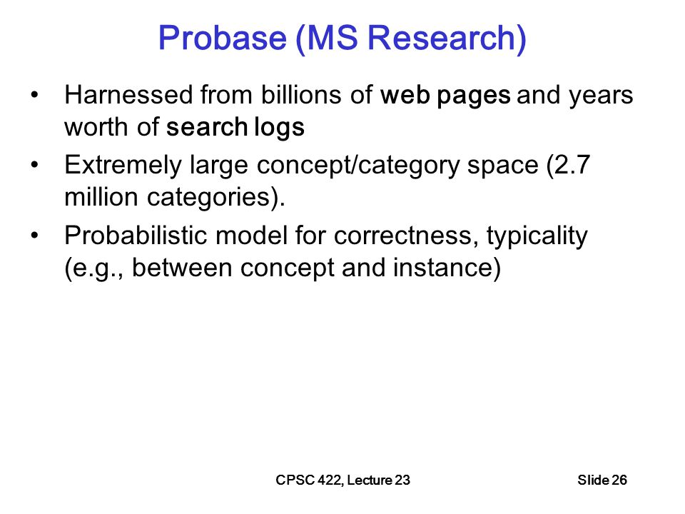 CPSC 422, Lecture 23Slide 27