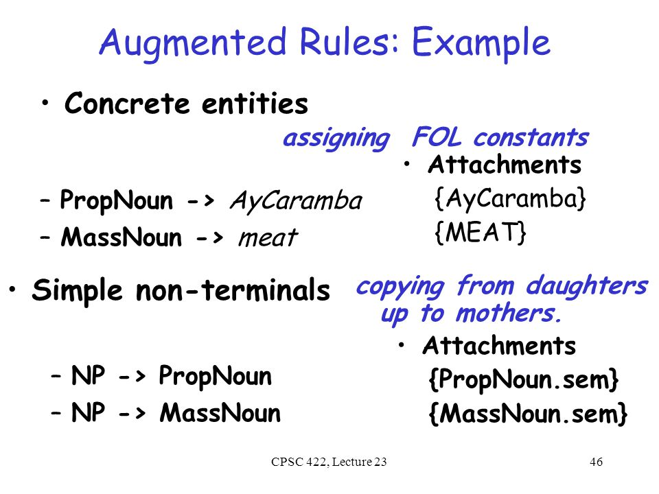 CPSC 422, Lecture 2347 Augmented Rules: Example Verb -> serves {VP.sem(NP.sem)} {Verb.sem(NP.sem) Semantics attached to one daughter is applied to semantics of the other daughter(s).