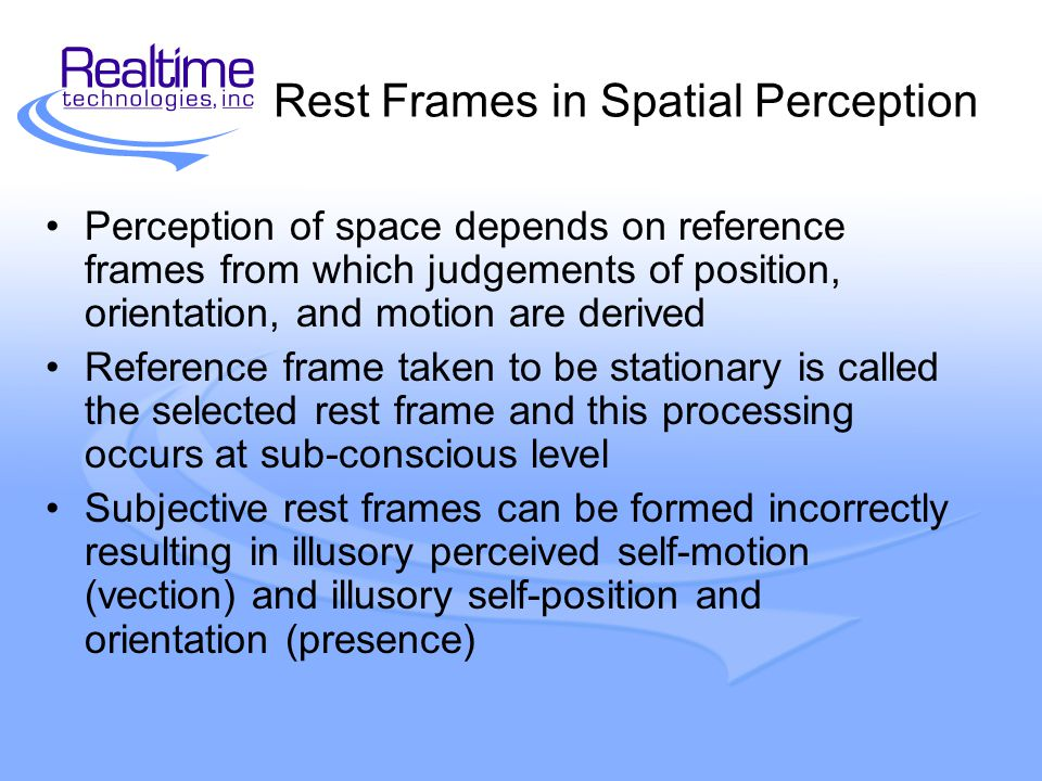 Rest Frames in Virtual Environments How is rest frame selected.