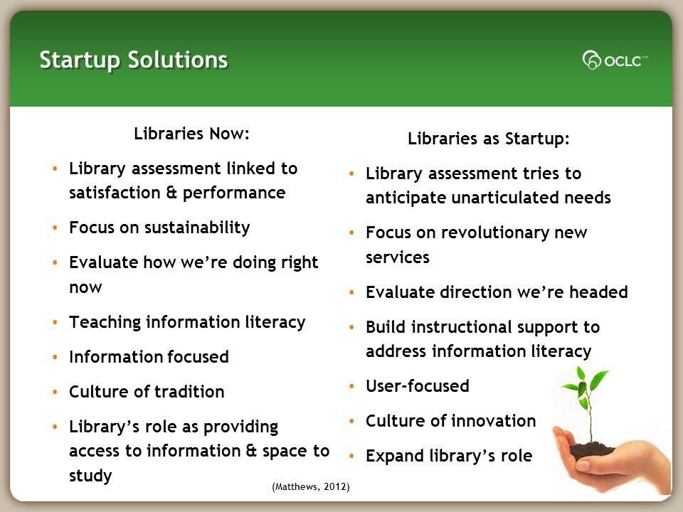 Startup Solutions How can libraries support 21 st century learners.