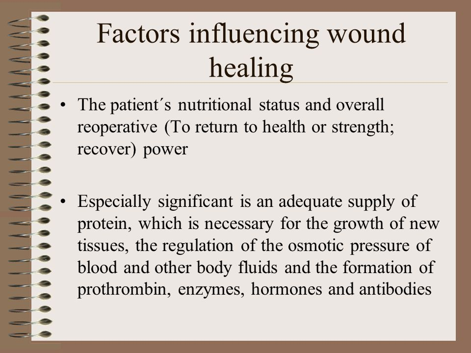 Vit C which aids connective tissue production and strong scar formation Scrupulous ( extreme care and great effort) aseptic technique must be used to prevent any wound infection-the most common cause of delayed wound healing