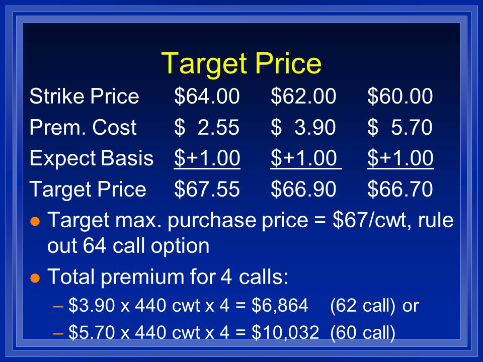 Prices Fall l Buy 4 January feeder cattle 62 calls at $3.90/cwt l In December, futures price = $58, cash price = $59 l Jan.