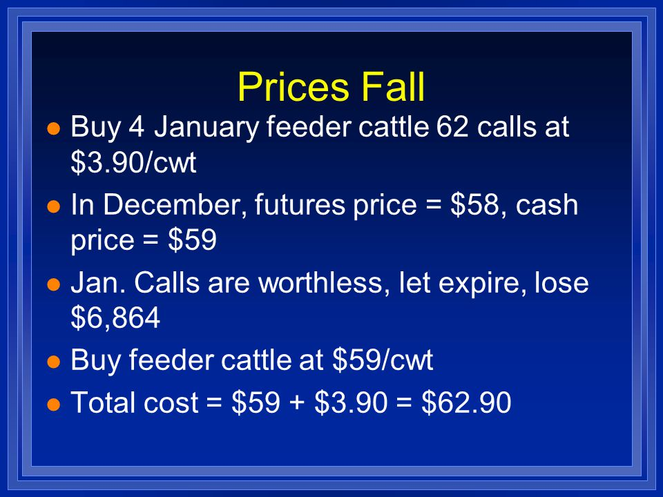 Prices Rise l Futures price = $70, cash price = $71 l Sell option for $8 ($4.10 profit) l Buy cattle for $71 l Total cost = $71 - $4.10 = $66.90