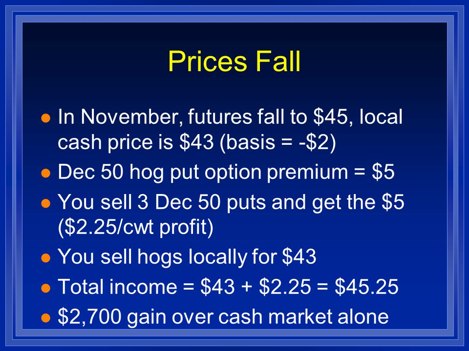 Prices Rise l Futures rise to $49 l Sell Dec 50 put for premium of $1 (loss of $1.75) l Cash Price = $47 l Total Income = $47 - $1.75 = 45.25