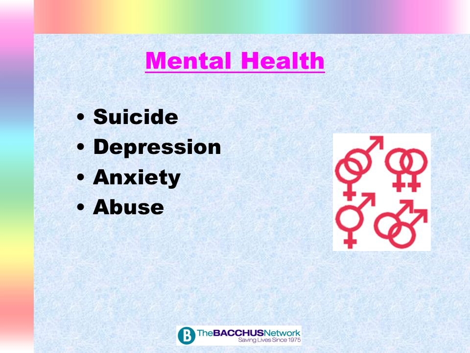 Mental Health Gay, lesbian, bisexual, or not sure youth report a significantly increased frequency of suicide attempts.