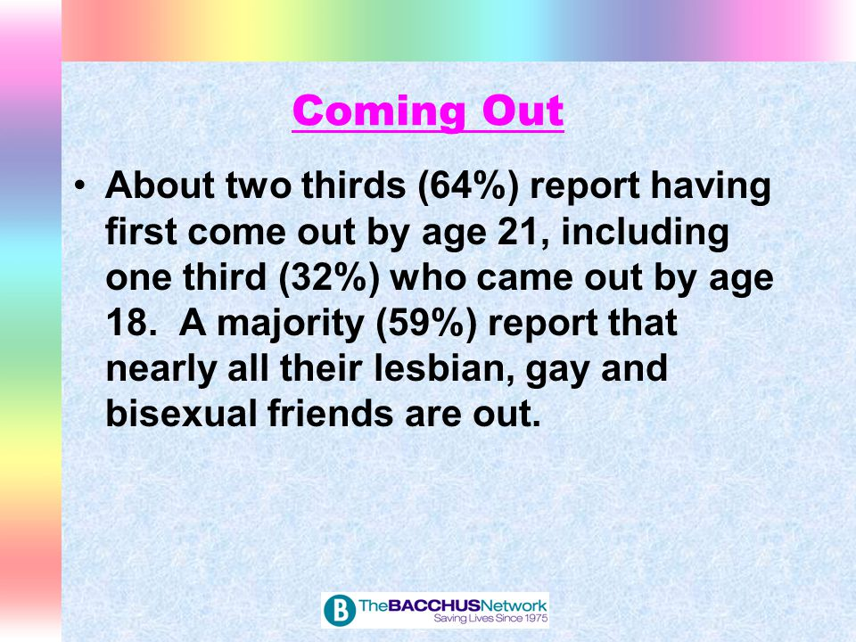 Coming Out Stages Self-recognition as GLBT Disclosure to others Socialization with other GLBT students Positive self-identification Integration and acceptance