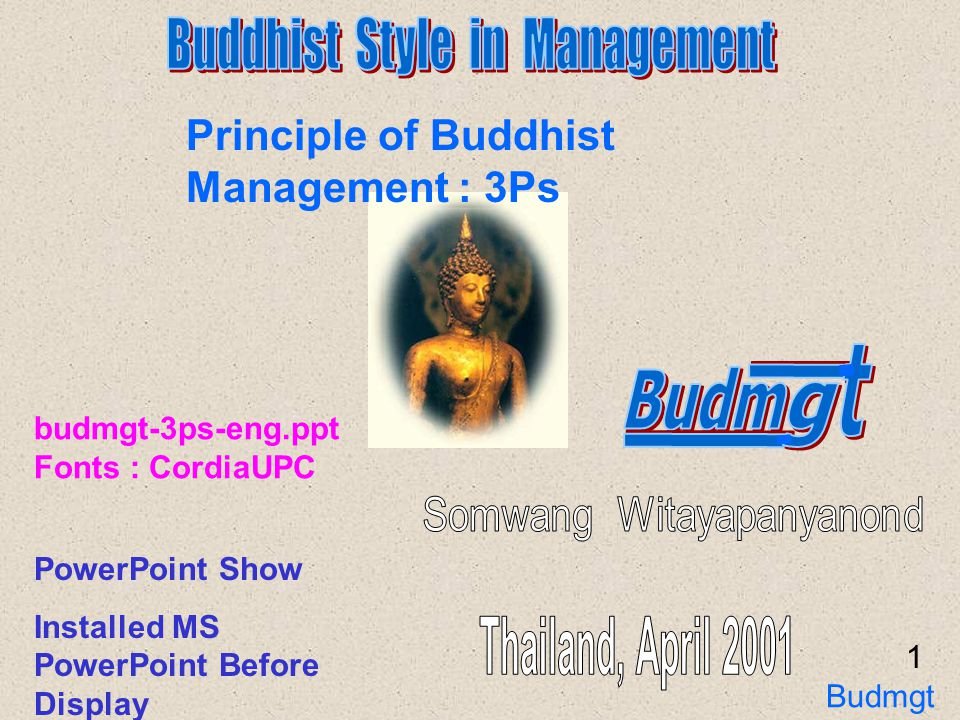 Principle of Buddhist Management : 3Ps P ariyat ( Knowledge and Preparation ) P atibat ( Implement and Control ) P atiwait ( Result, Verify and Standardization ) 2 Knowledge Implement Result Budmgt 3Ps