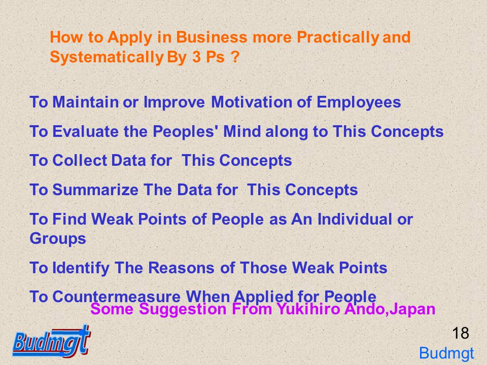 Principle of Buddhist Management : 3Ps The End 19 Thank You Budmgt 3Ps