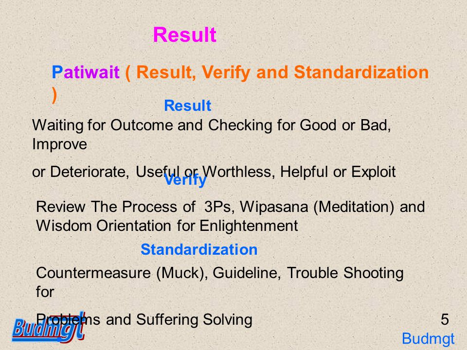 Principle of Buddhist Management : 3Ps Pariyat Patibat Patiwait The Cycle of 3Ps Muck (Countermeasure and Standardization) Tukha (Topics or Problems) Implement and Control Result, Verify and Standardization Knowledge and Preparation 6 Budmgt 3Ps