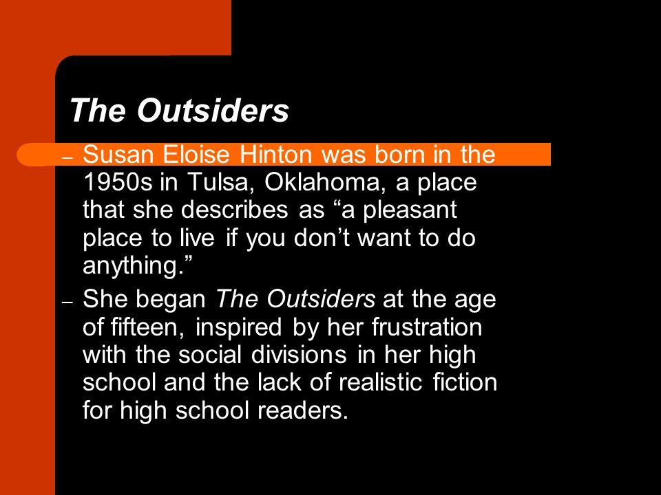 The Outsiders The Outsiders, first published in 1967, tells the story of class conflict between the greasers, a group of low-class youths, and the Socs (short for Socials), a group of privileged rich kids who live on the wealthy West Side of town.