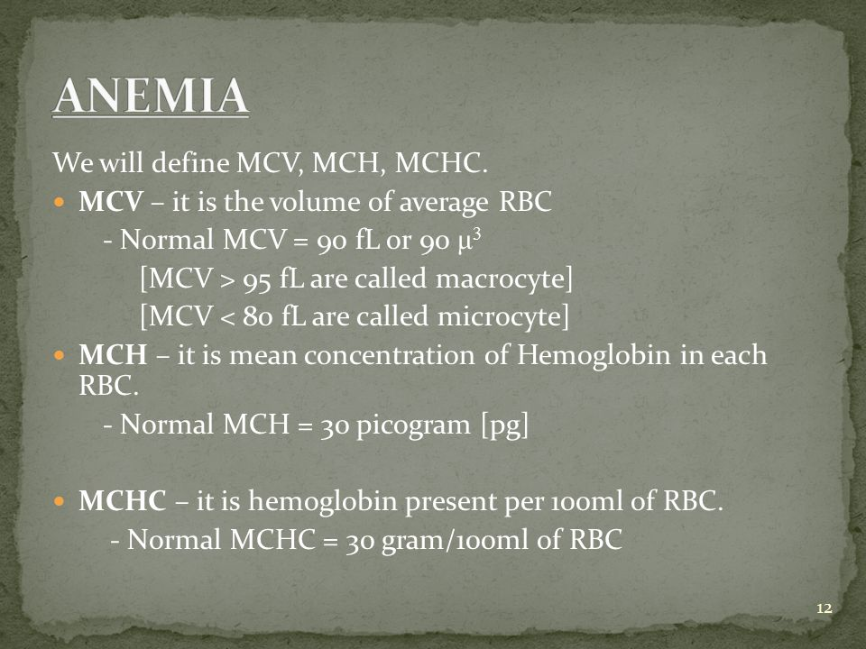 Microcytic Hypochromic Anemia Or Iron Deficiency Anemia In iron deficiency anemia Hemoglobin RBC Hematocrit MCV MCH MCHC 13