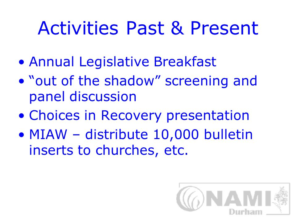 Participation Past & Present NC and National Conferences NAMI NC Board Advocacy in Raleigh, Washington Team Participation in NAMIWalks Consumer and Family Advisory Committee (CFAC) Area Mental Health Board