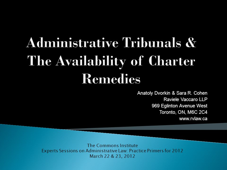  Tribunals and the Charter pre R.v.