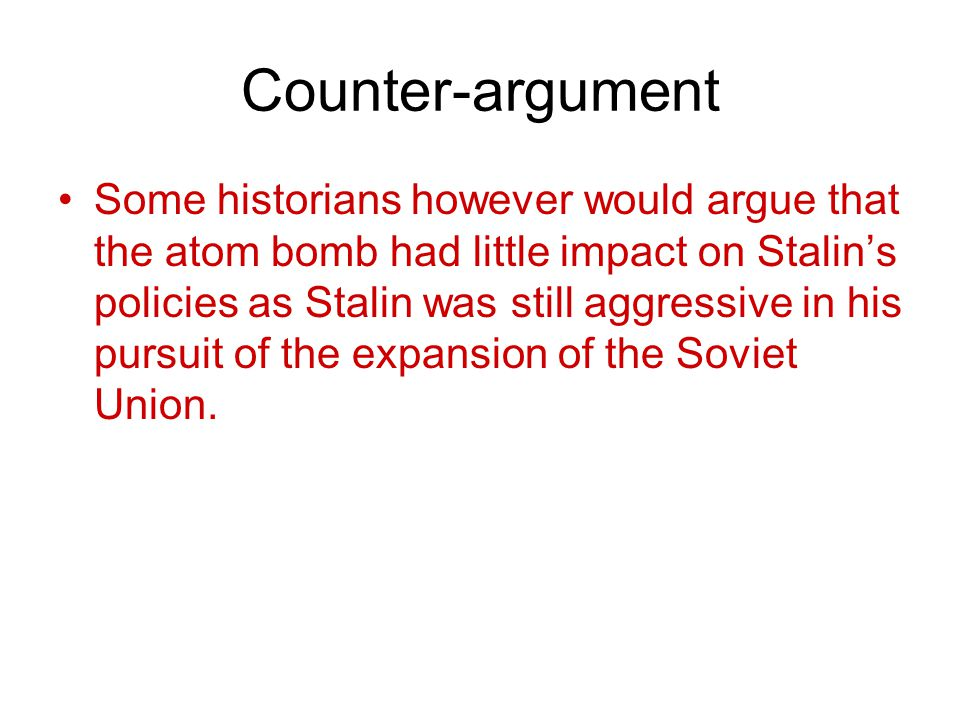 Summing up The issue of the Atomic bomb and the ensuing arms race did little to improve relations between East and West and was the start of a series of confrontations and competition that would be known as the cold war.