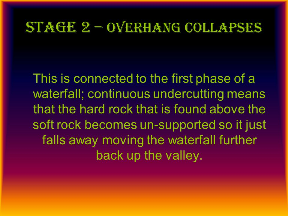 Stage 3 – plungepool develops The plungepool is found at the base of a waterfall; this is created again through a process of erosion; it is made by the sheer force of boulders falling from the waterfall and 'plunging' into the water below; eroding away the bed of the river.