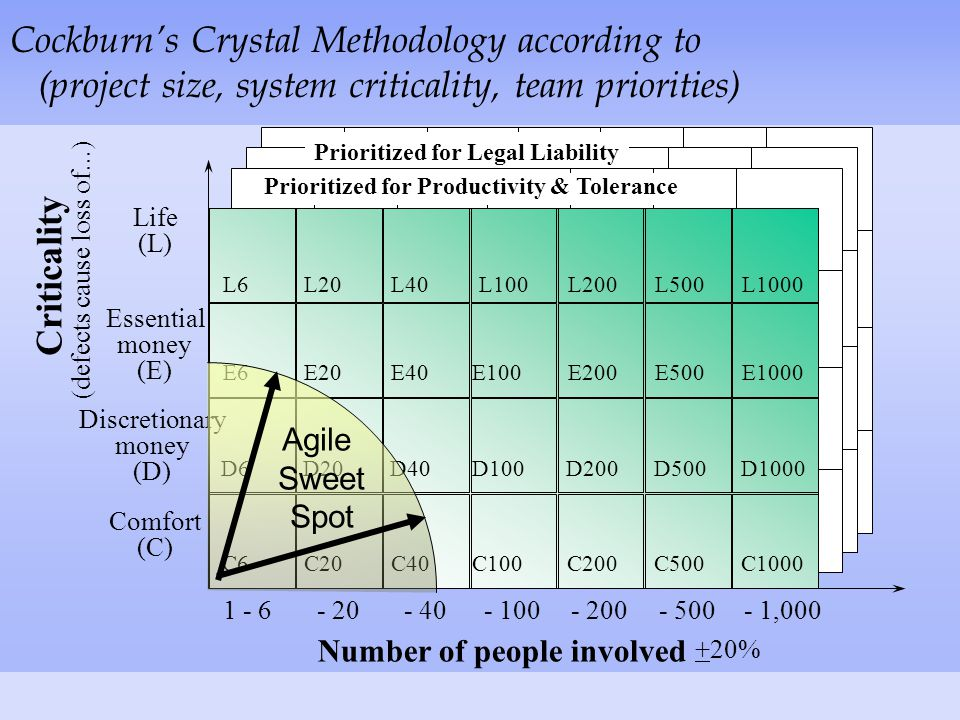Number of people involved Criticality (defects cause loss of...) Comfort (C) Essential money (E) Life (L) +20%...