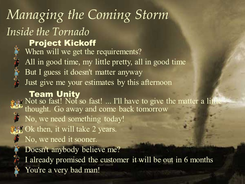 Managing the Coming Storm Inside the Tornado When will we get the requirements.