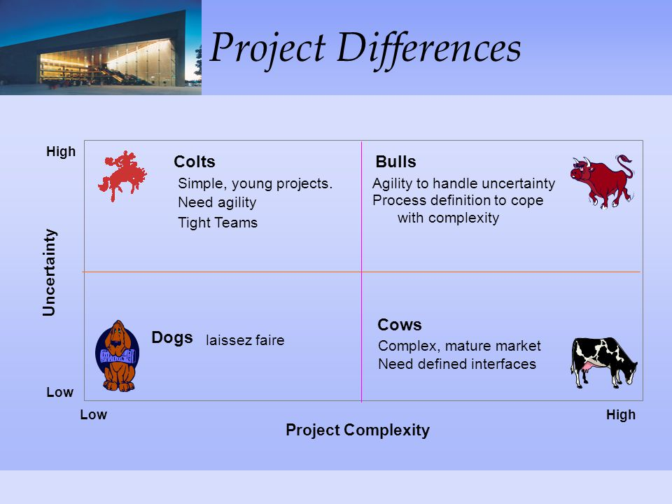 Project Differences Project Complexity Uncertainty Simple, young projects.