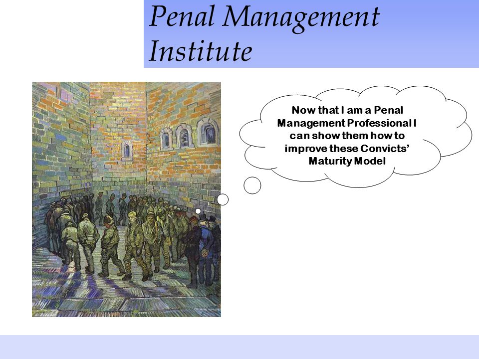 Penal Management Institute Now that I am a Penal Management Professional I can show them how to improve these Convicts' Maturity Model