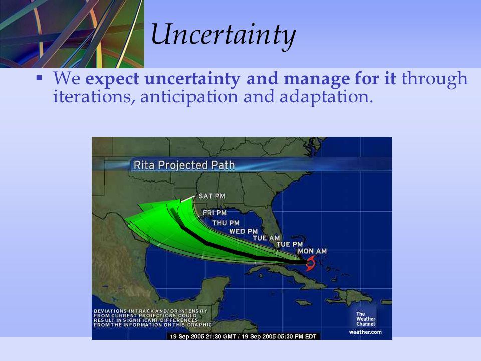 Uncertainty  We expect uncertainty and manage for it through iterations, anticipation and adaptation.
