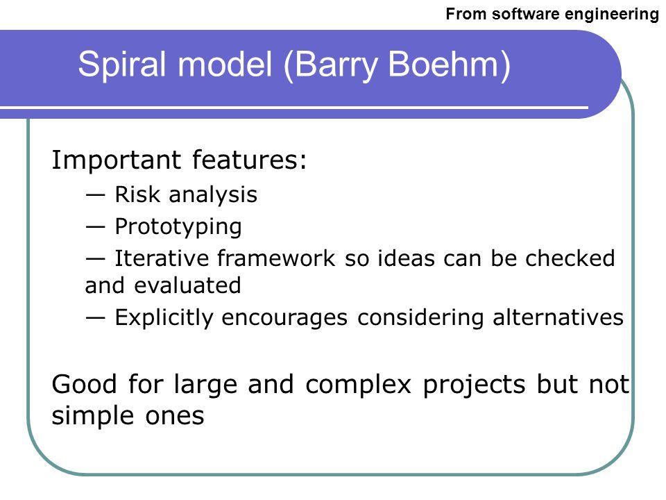Spiral model (Barry Boehm) From cctr.umkc.edu/~kennethjuwng/spiral.htm From software engineering
