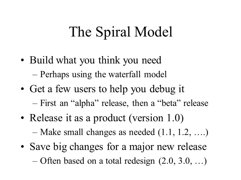 The Spiral Model 1.0 0.5 2.0 3.0 1.1 1.2 2.1 2.2 2.3