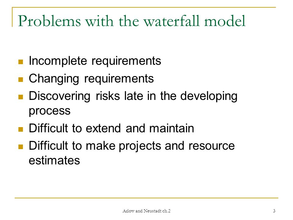 Arlow and Neustadt ch.2 4 Waterfall developing model Divided in phases Each phase starts when the previous has finished Integration Test Implementation Analysis and design Requirements