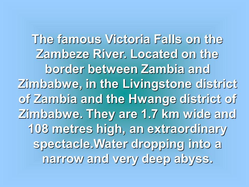 The famous Victoria Falls on the Zambeze River.