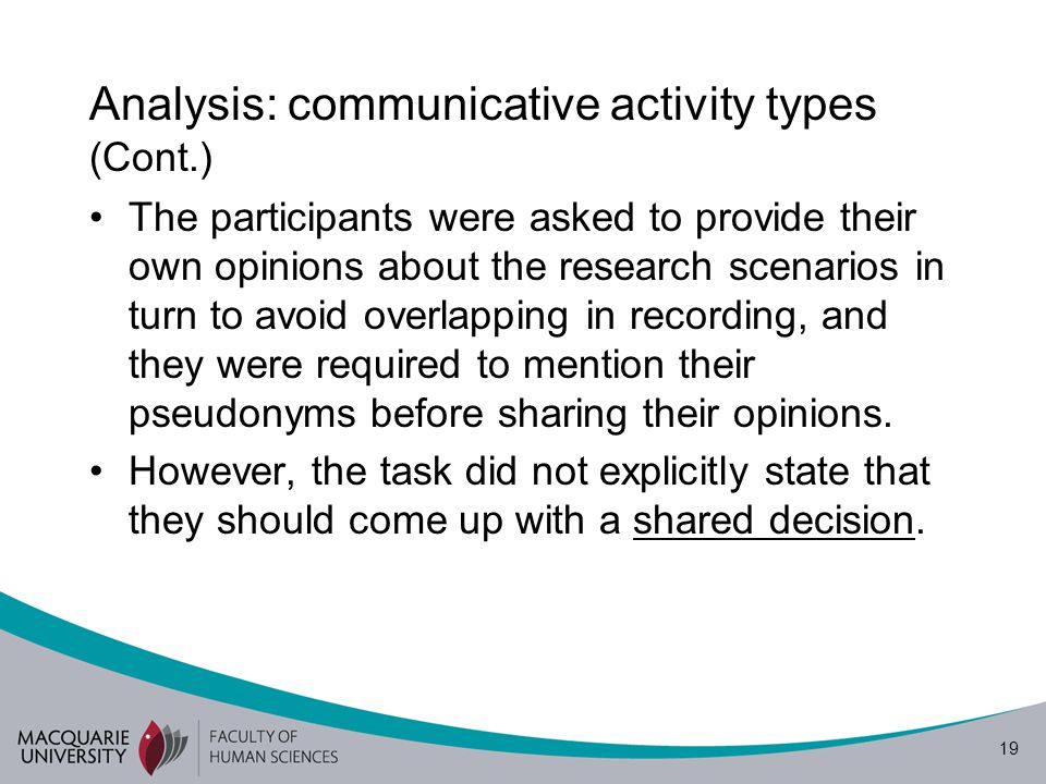 20 Analysis: communicative activity types (Cont.) The scenarios were adapted on the basis of some of characteristics of Borg's (2010) basic definition of teacher research in language teacher.