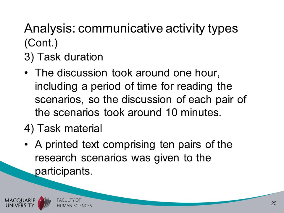26 Analysis: communicative activity types (Cont.) 5) Task sequence The FGD presented here is part of a larger FGD.