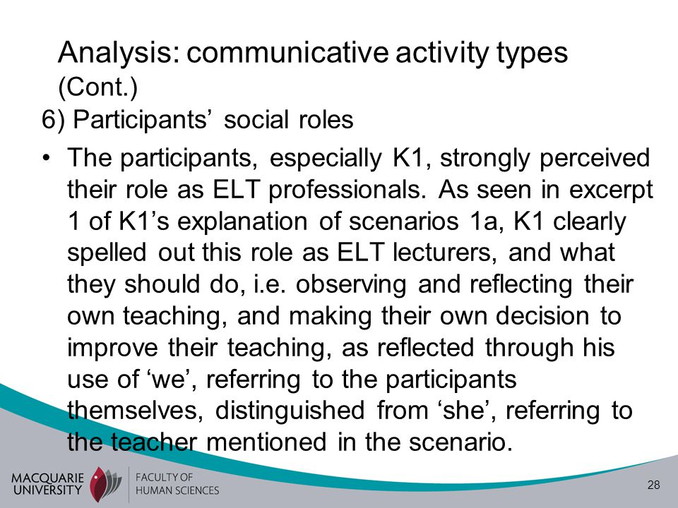 29 Analysis: communicative activity types (Cont.) Later, this role as ELT lecturers was transformed to a role as ELT teacher researcher when K1 discussed scenario 1b.