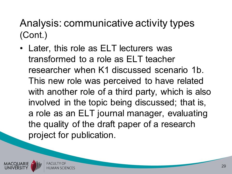 30 Analysis: communicative activity types (Cont.) Excerpt 1 ok I m K1.