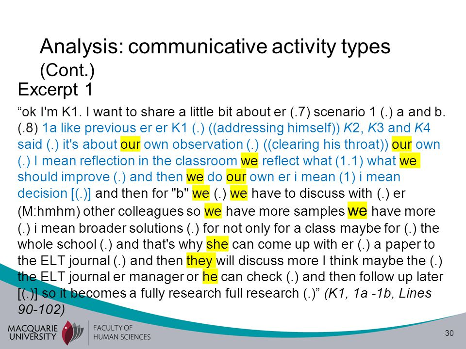 31 Analysis: communicative activity types (Cont.) Excerpt 2- Participants brought in their experiences I'm K1 (.) I want to share about er scenario (.) 3a and b (.9) er from my experience (.) 3a is also research (.8) we call this er library research because we do most of the work (.) I mean reading a lot in the (.) documents in the library only they don't need to go to the field (.) they do in the library (.) and they can come up with their own findings or yes summary yes (.7) I think that that the main focus we have the finding (.8) from the library (.) he read many books and then he come up (.) with his own assumption (.) or own finding that's (.) about the research (.7) but in the library only (1) he did not have interview observation and so on (1) like previous (.) like (.) 1a 1b we have we have we observation in a classroom (.) in Cambodian context I think even observation we also call research but I think sometimes it's not really a research and for 3b I support it's real it's a real research (.8) 3b (.) thank you (K1, 3a, 3b, Lines 228-244)