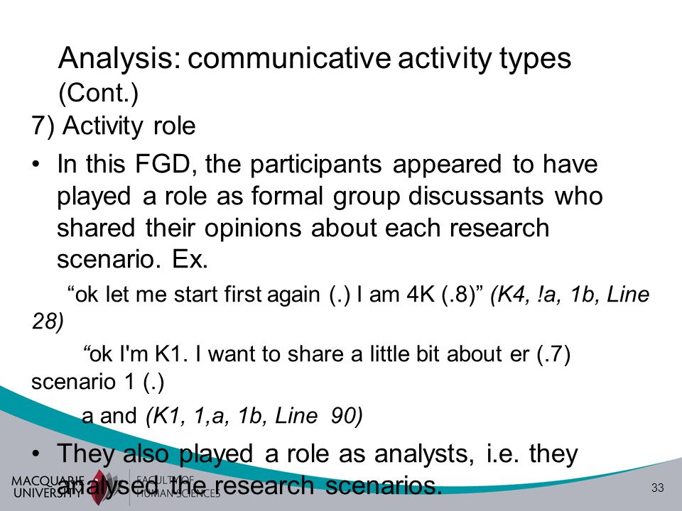 34 Analysis: communicative activity types (Cont.) This role was later developed to a more debater- like role when the participants were defining some relevant terms such as 'report', 'paper', and esp.