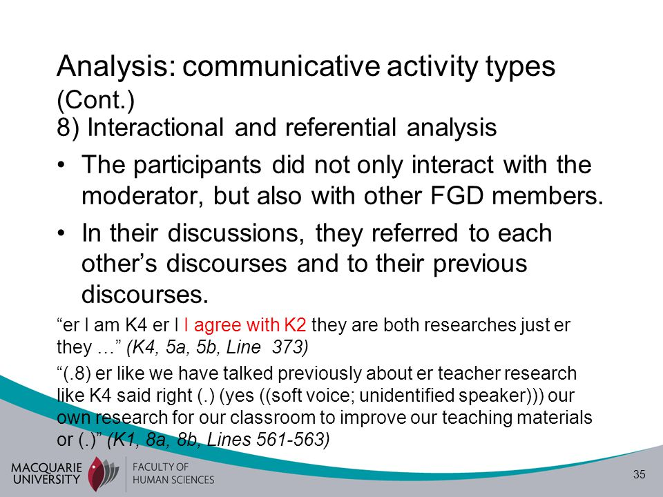 36 Analysis: communicative activity types (Cont.) 9) Moderator's role The moderator was also a researcher.